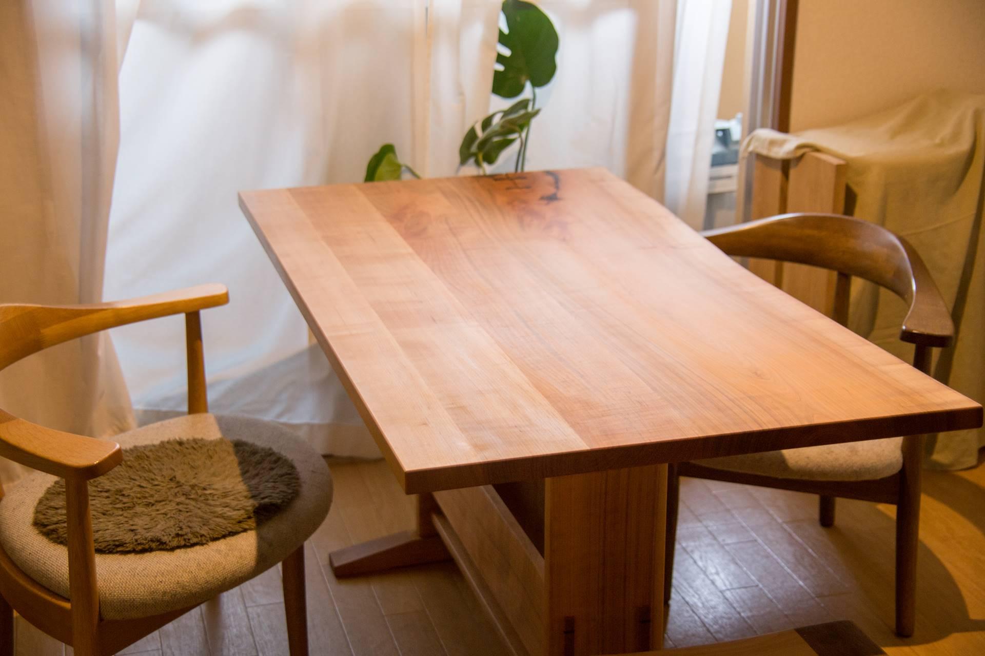 ダイニングテーブル 山桜 耳付き 蝶契り